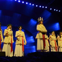 Lucia celebration at the Solliden stage at Skansen